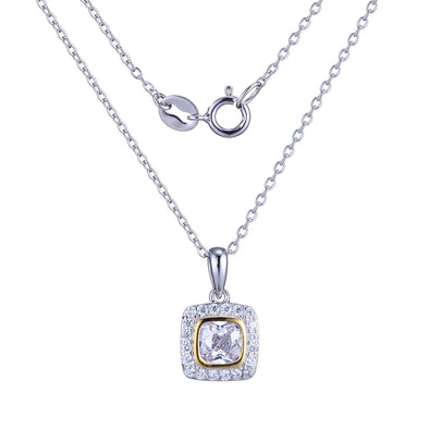 Bezel Set Cushion Cz Pendant