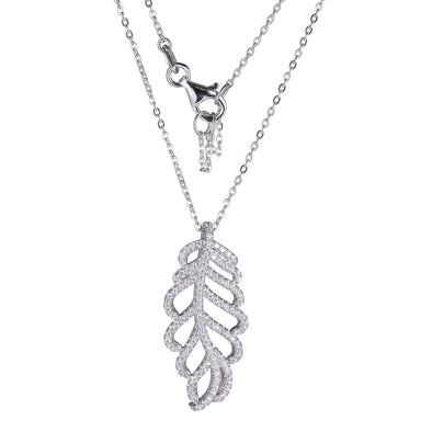 Leaf CZ Dangle Necklace