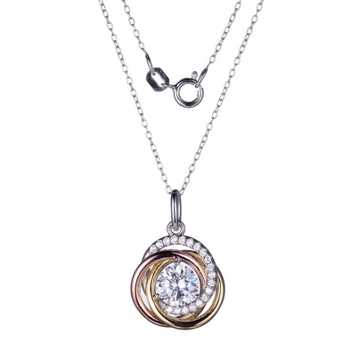Tri Tone Love Knot Pendant With CZ