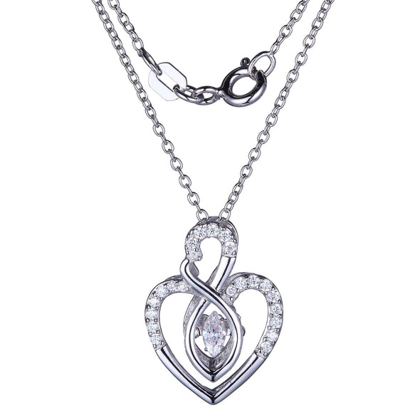 Infinity And Heart Flutter CZ Pendant