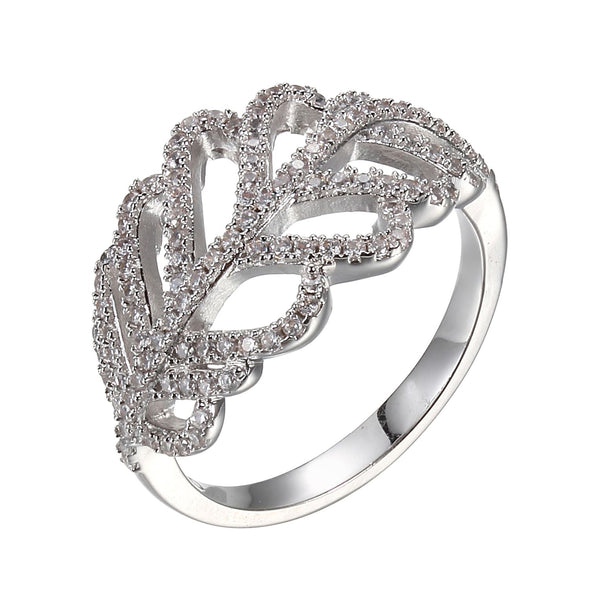 CZ Leaf Ring in Silver