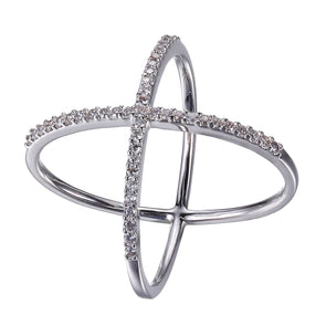 Open Criss Cross Ring in Sterling Silver