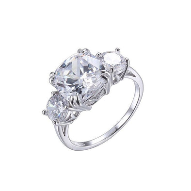 Sterling Silver Cushion 3 Stone Ring