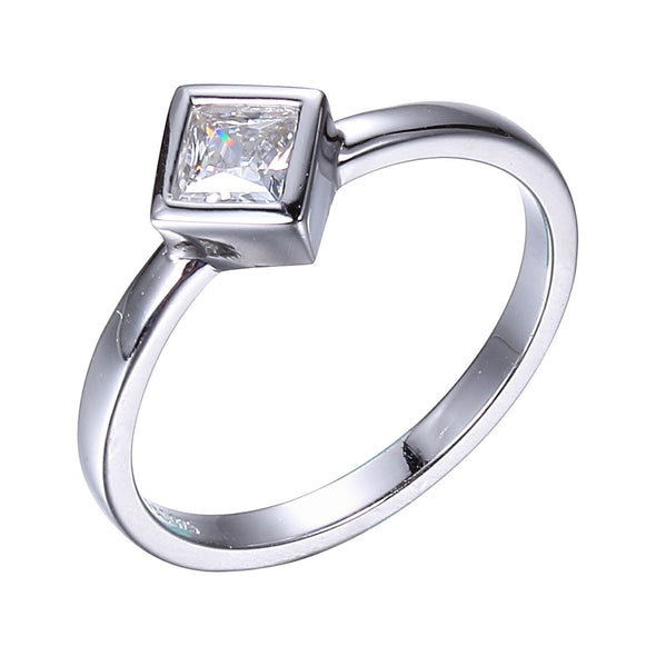 Square Bezel Set Solitaire in Sterling Silver