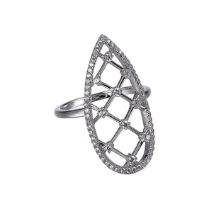 CZ Teardrop Lattice Ring