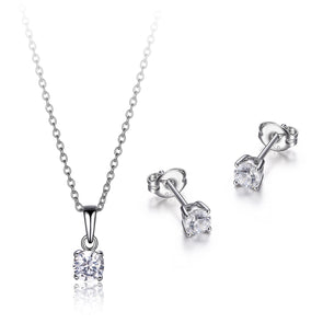 Dainty Round Solitaire Pendant And Earring Set