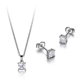 Dainty Princess Solitaire Pendant And Earring Set