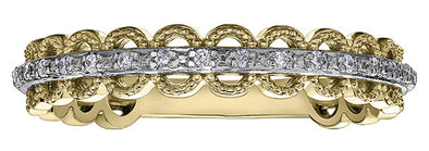 Scalloped Stackable Yellow and White Gold Diamond Band