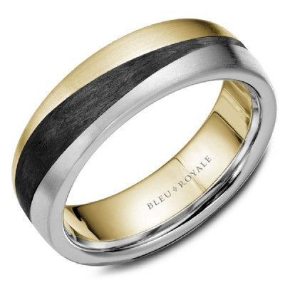Triple Wave Gold Band with Carbon