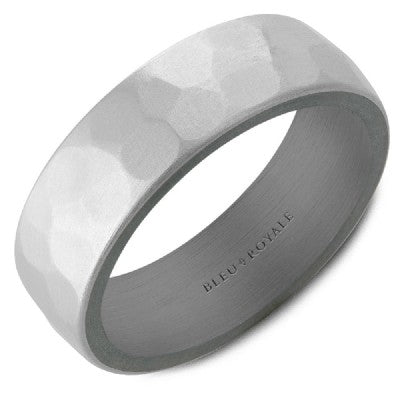 Brushed Finish Hammered Band in Tantalum and Yellow Gold