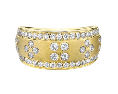 Brushed yellow Gold and Diamond Band