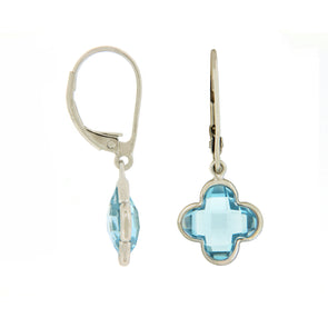 Bezel Set Blue Topaz Flower Earrings