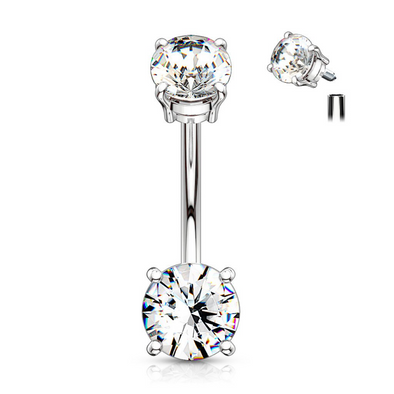 Surgical Steel Prong Set Belly Ring