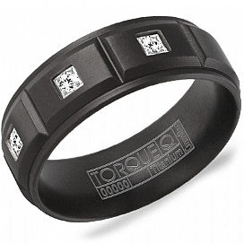 Torque Black Titanium & Diamond Men's Wedding Band