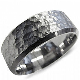 Torque Hammered Titanium Wedding Band