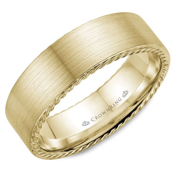 Rope Edge Brushed Gold Band