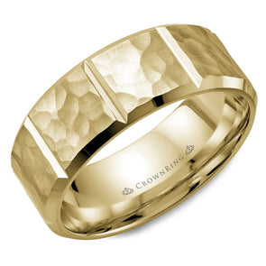 Hammered & Notched Gold Band
