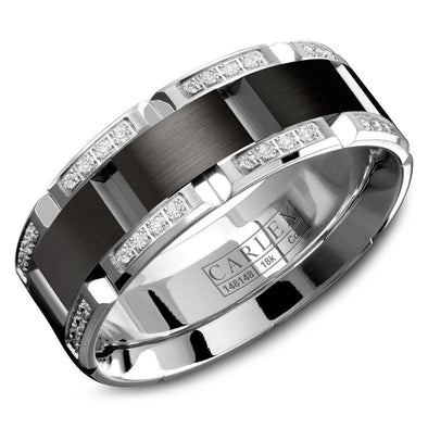 Sport Colbat and Diamond Men's Wedding Band