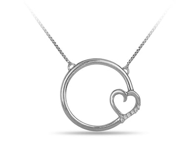 Forever Circle with Diamond Heart in White Gold