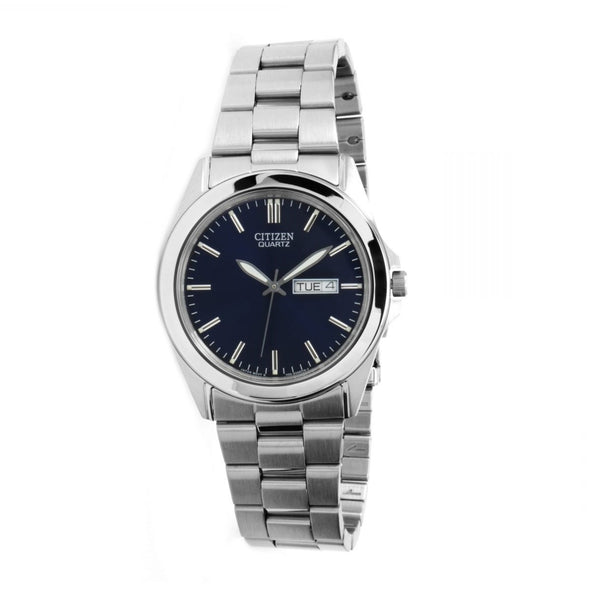 Silver Quartz Watch with Blue Face