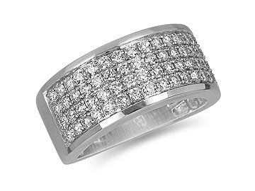 Four Row Pave Diamond Ring in White Gold