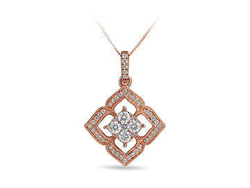 Floral Pendant With Diamond in Rose Gold