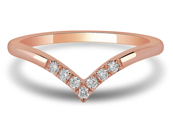 Diamond Set V Ring in Rose Gold
