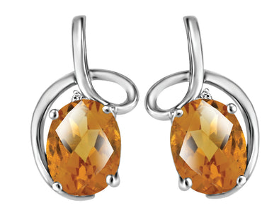 Citrine And White Gold Looping Diamond Earrings