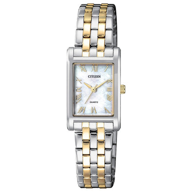 Rectangle Silver and Yellow Quartz Watch