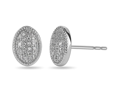Pave Set Oval Stud Earrings