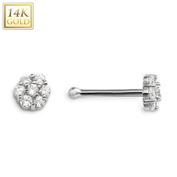 14KT Solid Gold & Diamond Floral Ball End Nose Stud