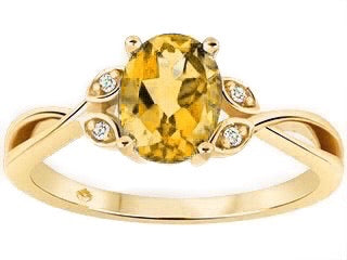 Citrine Oval Floral Ring