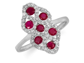 Art Deco Style Ring with Diamonds and Rubies in White Gold