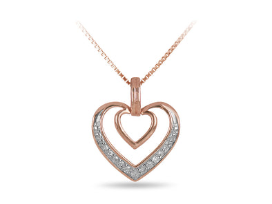 Diamond Double Heart Pendant in Rose and White Gold