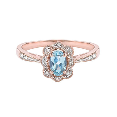 Blue Topaz Vintage Halo Ring