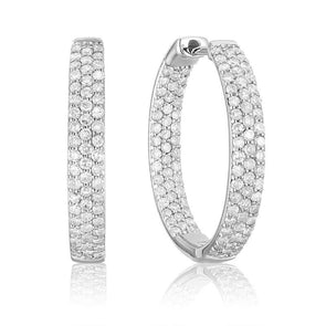 .98 Carat TW Pave Front & Back Diamond Hoop Earrings