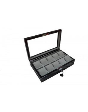 10 Piece Piano Black Watch Box