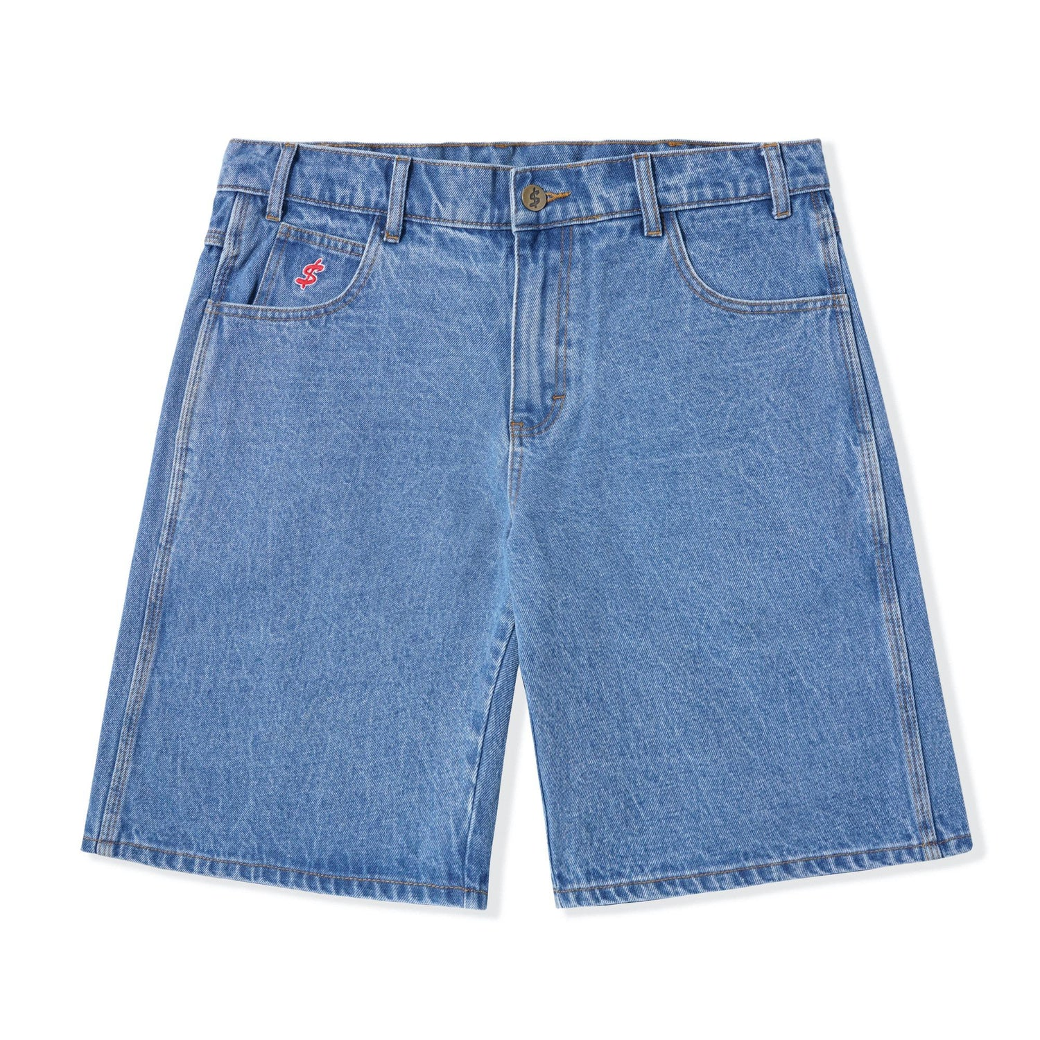 Baggy Jean Shorts, Washed Indigo