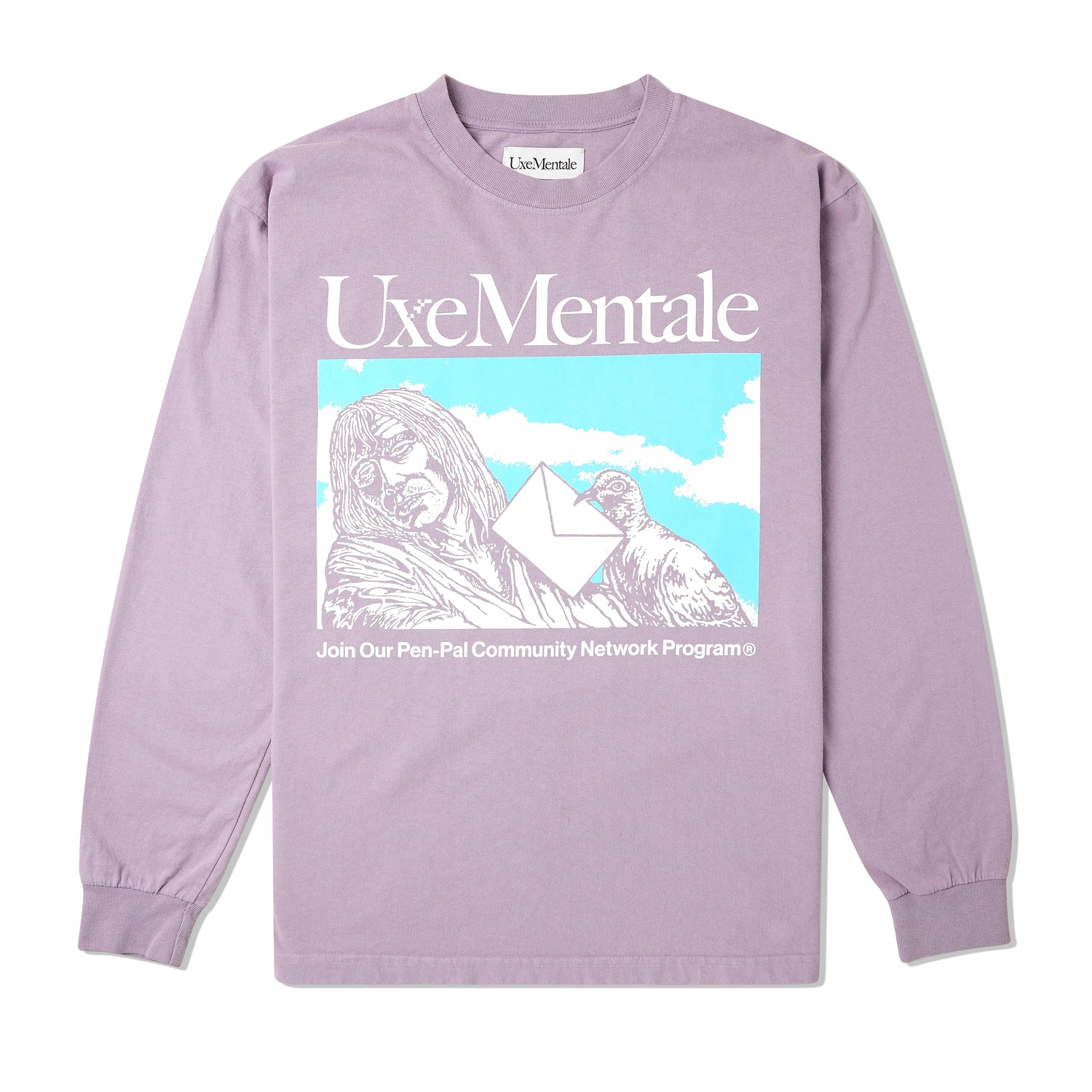 Pen Pal Community L/S Tee, Washed Purple