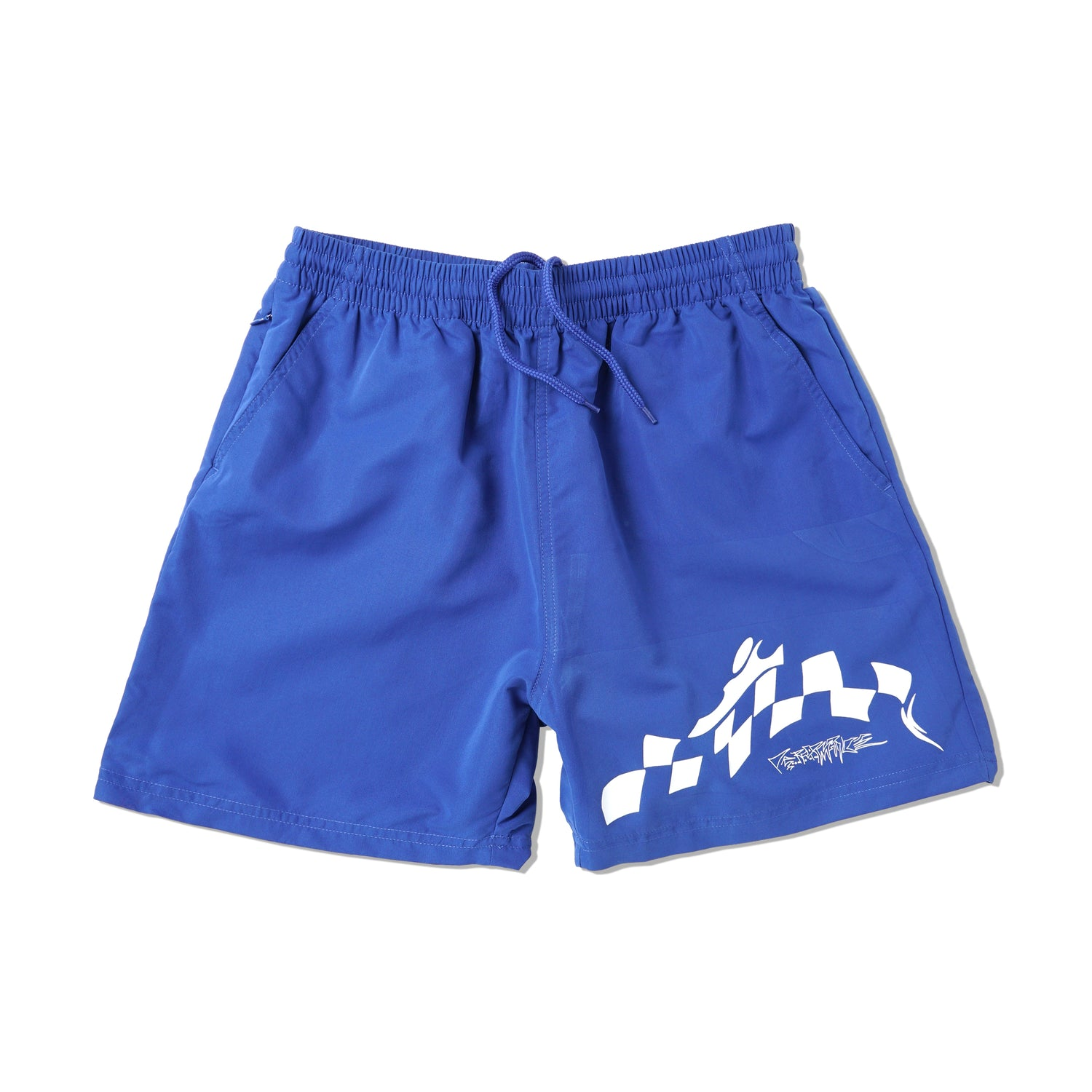 Warped Check Shorts, Royal Blue