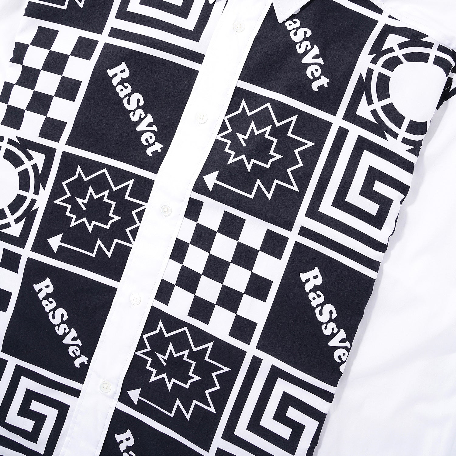 Print Button-Up Shirt, White / Black