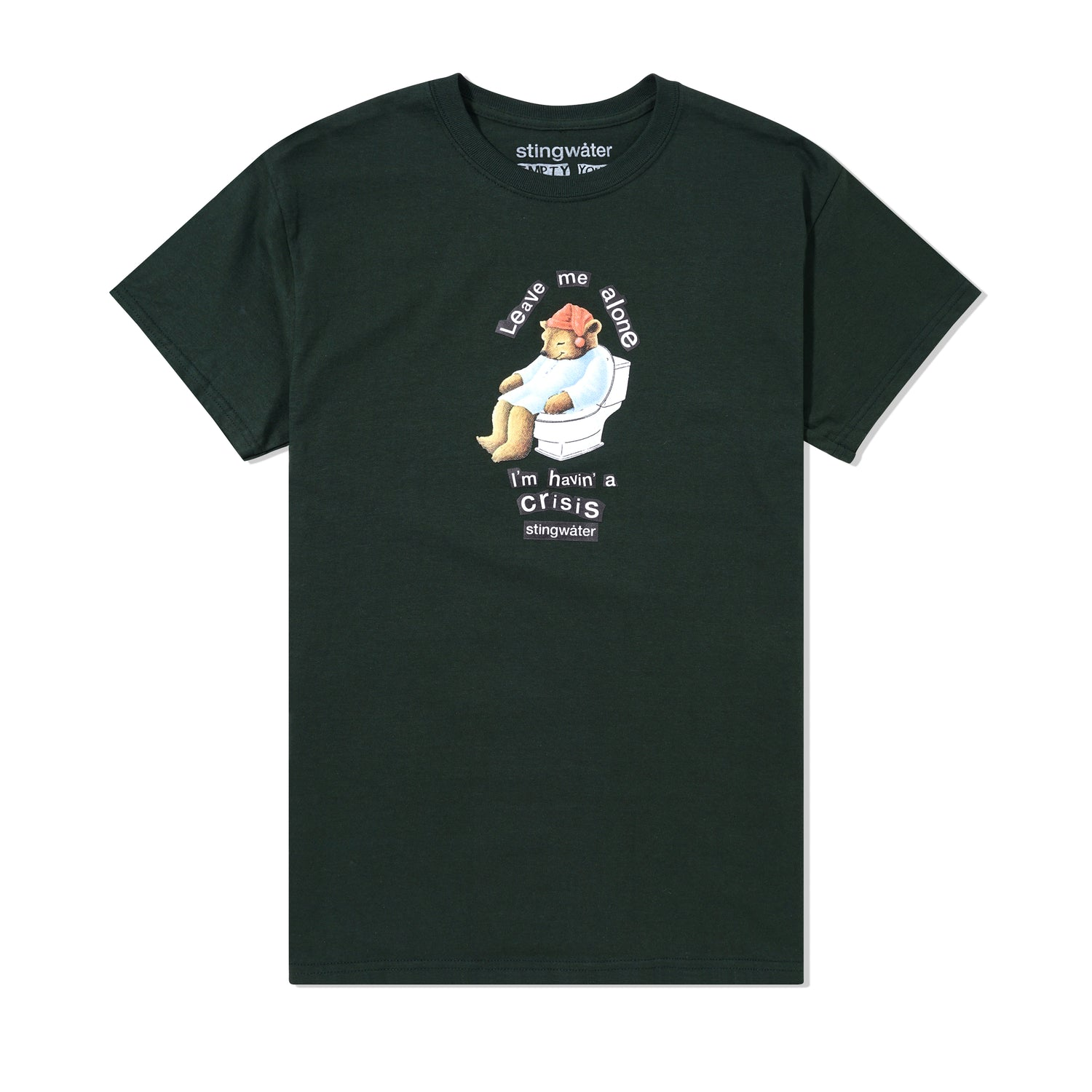 Crisis Bear Tee, Forest Green