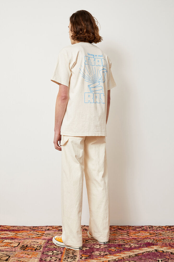 Wide Leg Painter Pant, Natural Herringbone