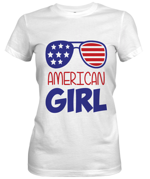 AMERICAN GIRL_4th of July Custom Tshirt Fair Shade S White Sport Short Sleeve Tee