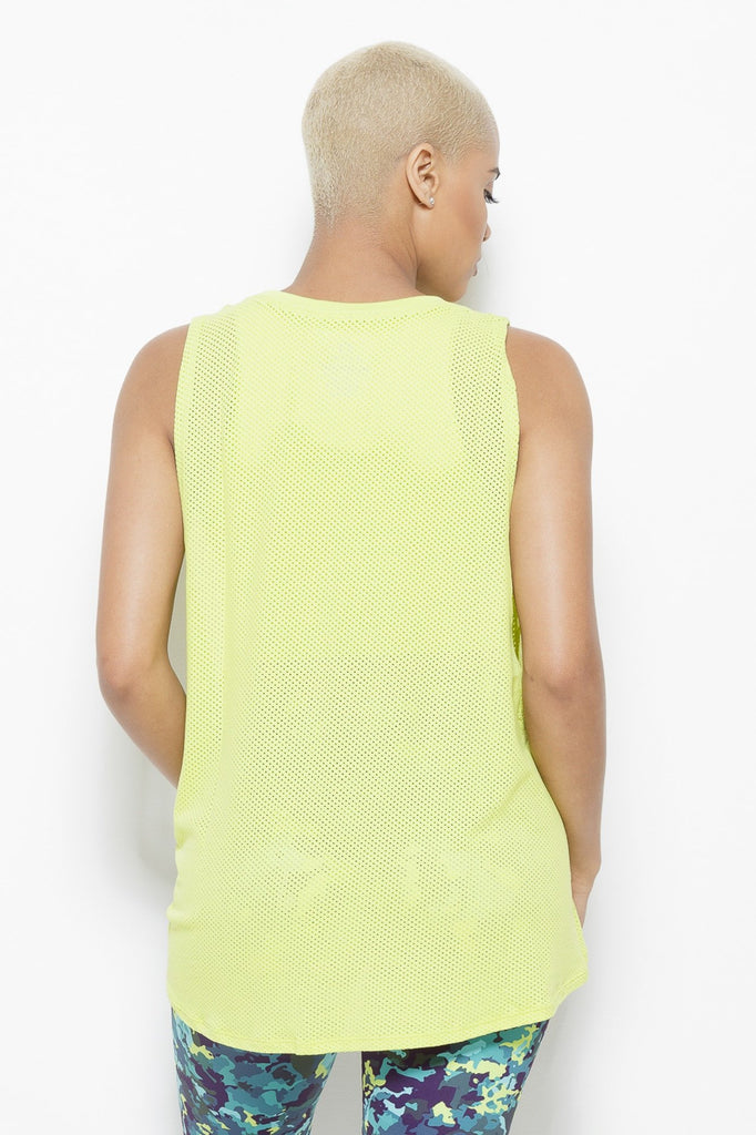 Clothing - August Mesh Sleeveless Tank Top- Chartreuse - Fair Shade - 2