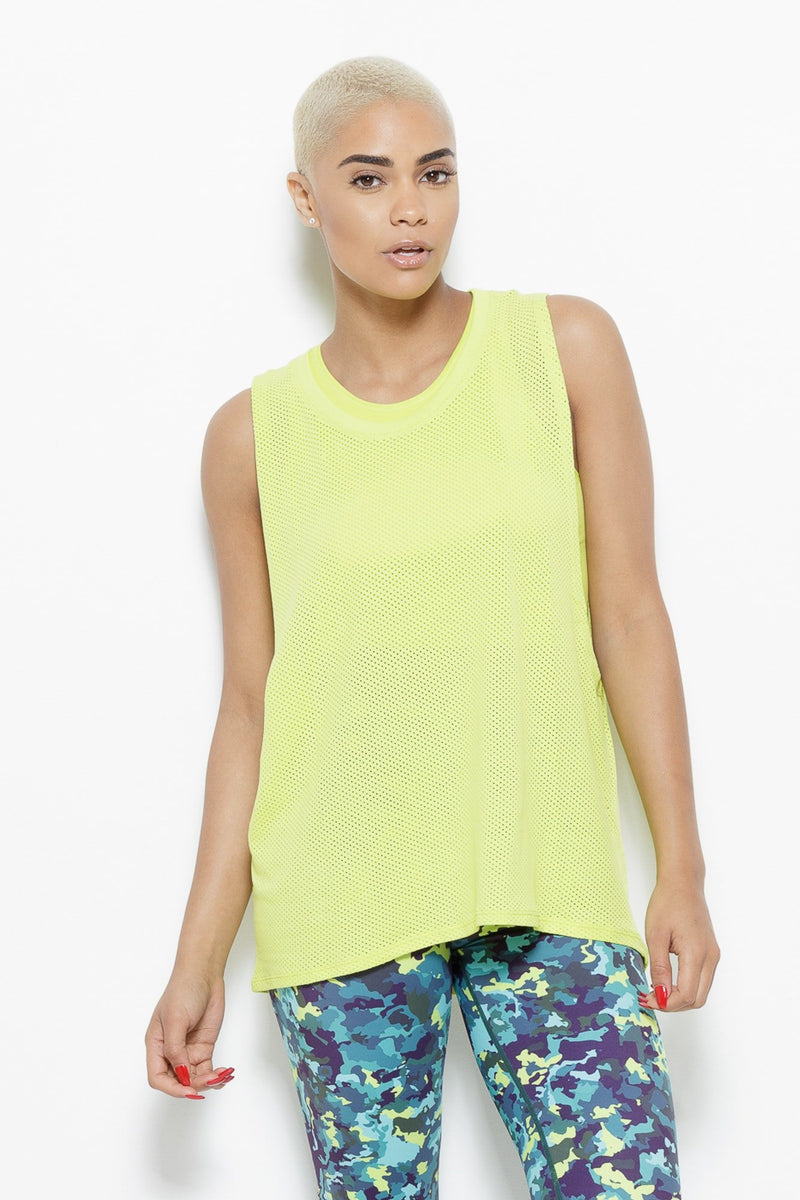 August Mesh Sleeveless Tank Top- Chartreuse Clothing Fair Shade