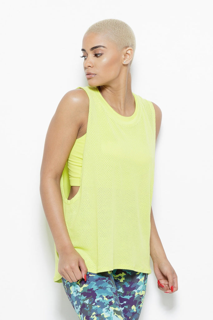 Clothing - August Mesh Sleeveless Tank Top- Chartreuse - Fair Shade - 3