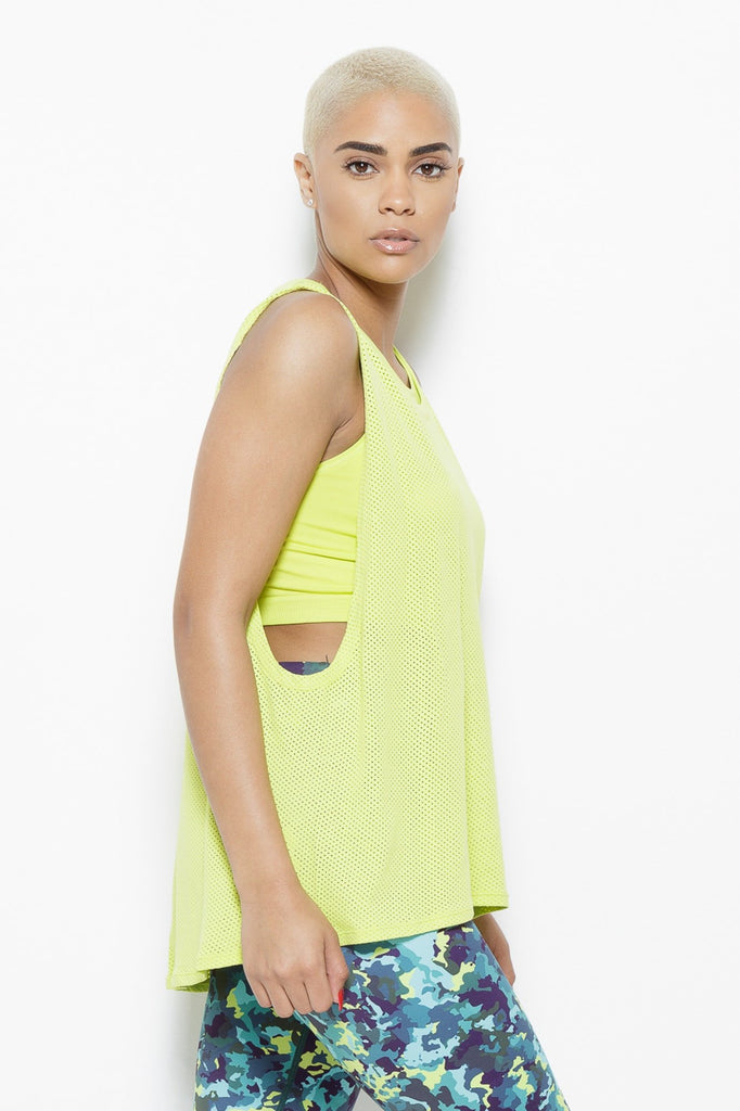 Clothing - August Mesh Sleeveless Tank Top- Chartreuse - Fair Shade - 4