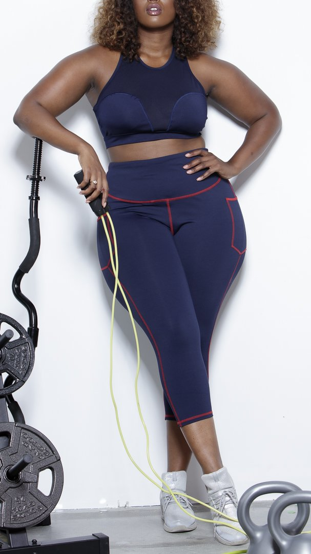 ARBOR Capri Active Leggings- Navy Clothing Fair Shade LLC