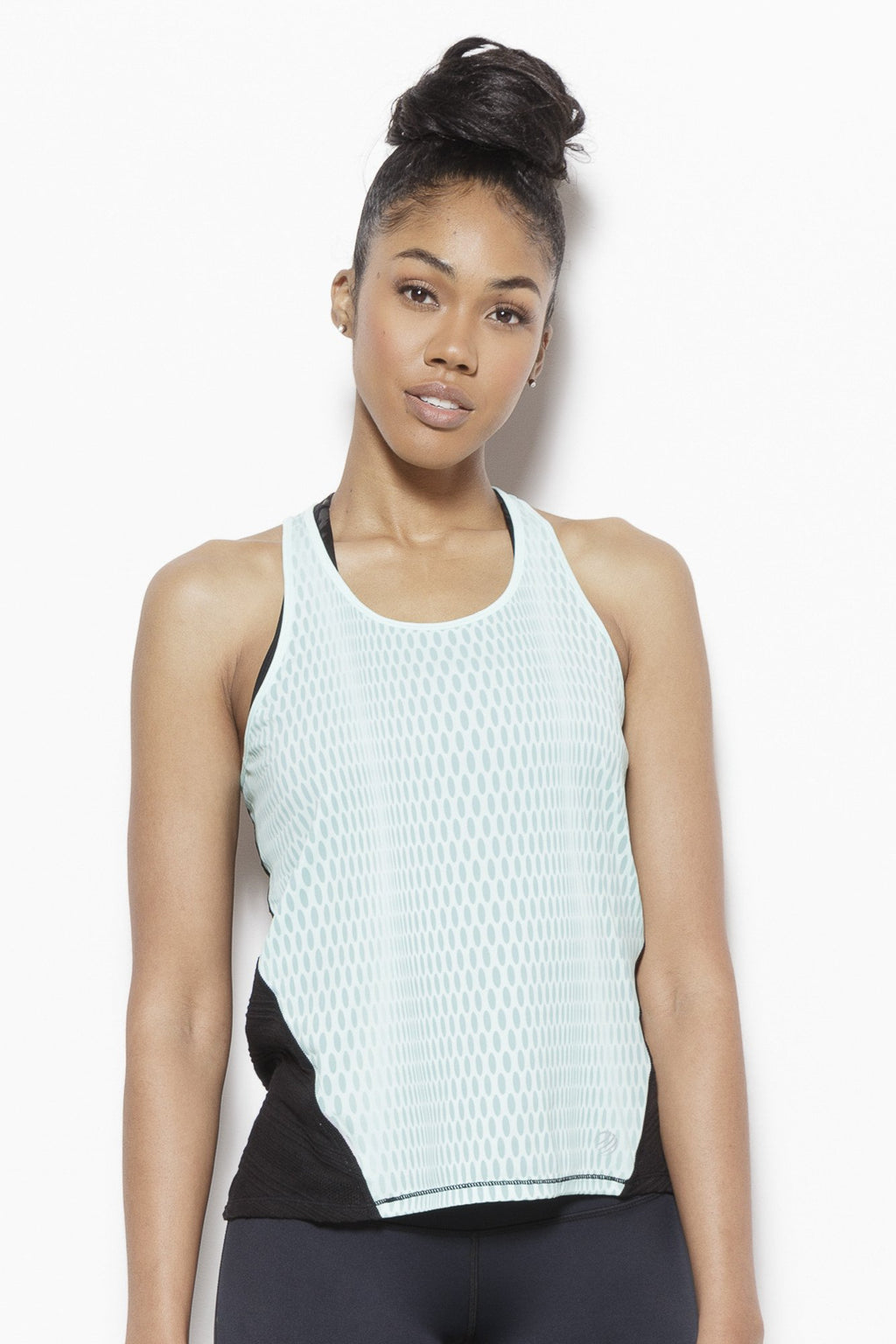 Solar Eclipse Tank Top-Teal Clothing MPG S Polyester jersey; polyester/spandex mesh Teal